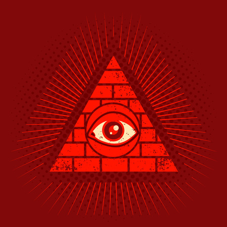 Vintage vector poster with pyramid and eye