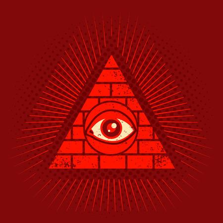 ojo de horus: Vector del cartel de la vendimia con la pirámide y el ojo