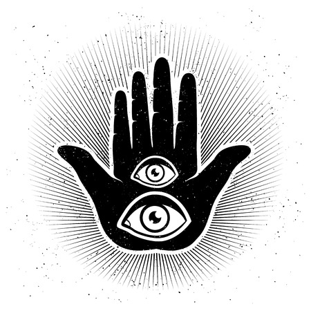 paganism: Vintage vector illustration of hand and eyes