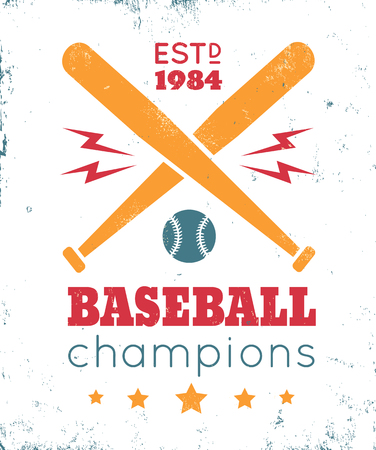 championship: Vintage vector sport icon. Baseball champions Illustration