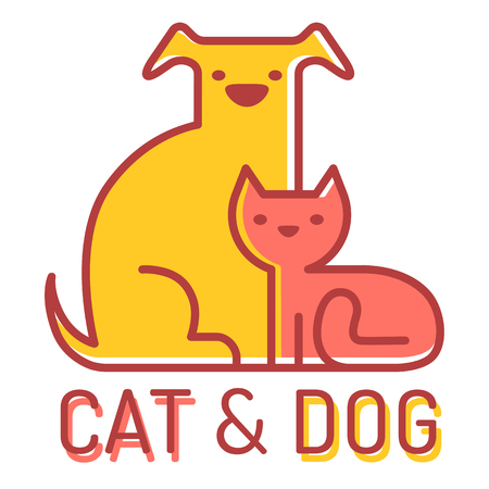 sitting: Vector flat icon with cat and dog Illustration
