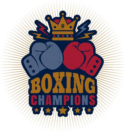 Vector vintage icon for boxing with gloves and crown