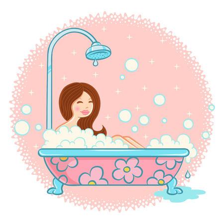 bathroom women: Vector illustration of girl in bathroom