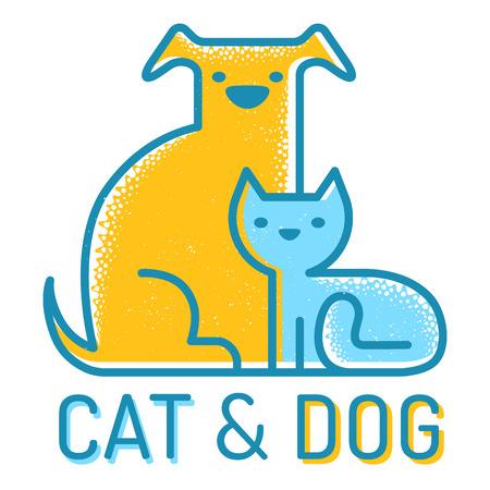 juntos: Vector icono plana con el gato y el perro Vectores