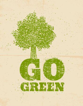 reciclar: Vector del cartel de la vendimia ir verde