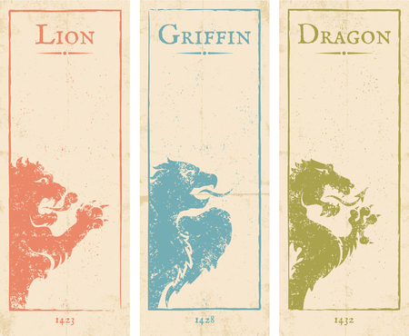 griffin: Vector set vintage posters with lion, griffin and dragon Illustration