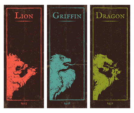 griffon: Vector set vintage posters with lion, griffin and dragon Illustration