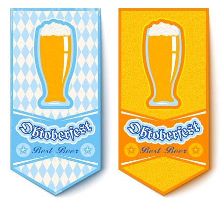 beers: Vector set banners for Oktoberfest with beers Illustration