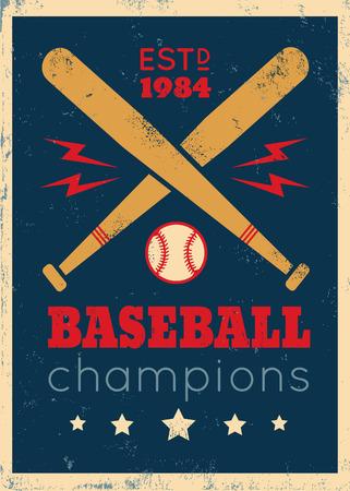 base ball: Vintage poster for baseball on grunge background