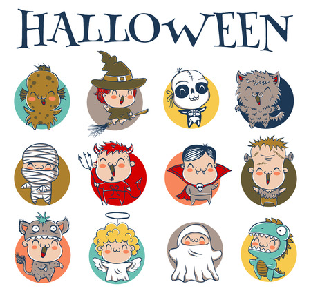 gremlin: Vector set icons children with costumes for Halloween Illustration