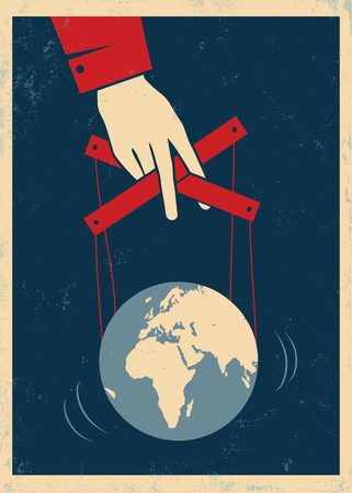 Vector vintage poster with hand controls Earth like a puppet Vectores