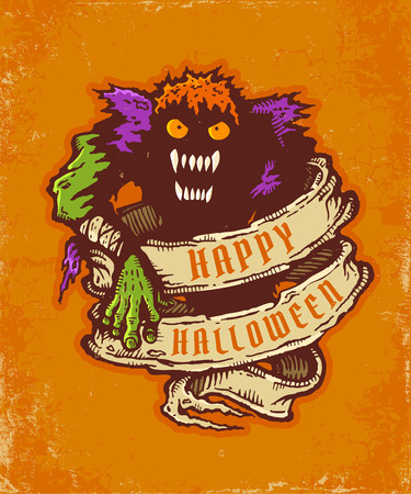 Vintage postcard with monster and old ribbon for halloween