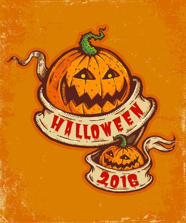 vintage postcard: Vintage postcard with pumpkins and old ribbon for Halloween Illustration