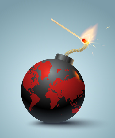 dangers: Vector illustration of a bomb with World map and match in fire and sparks