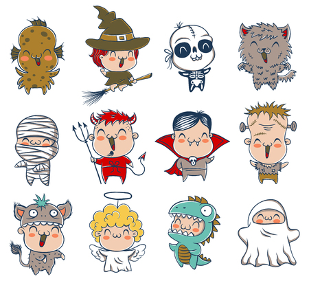Vector set icons children with monster costumes for Halloween
