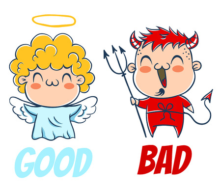 Angel and devil. Good and bad. Costumes angel and devil 일러스트