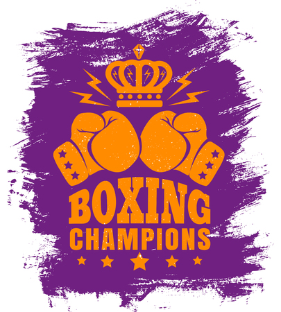 Vector vintage poster for boxing with gloves and crown. Two gloves and crown for boxing