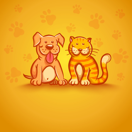 pampered: Cute vector illustration of cat and dog. Pets on yellow background.