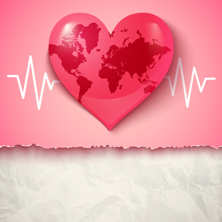 Vector logo with Earth in the form of heart. Heart and pulse.
