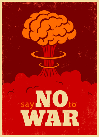 no war: Vector vintage poster, Say no to war. Pacific vintage poster.