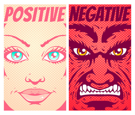 Vector vintage poster good and evil. Angel and devil in comics style.