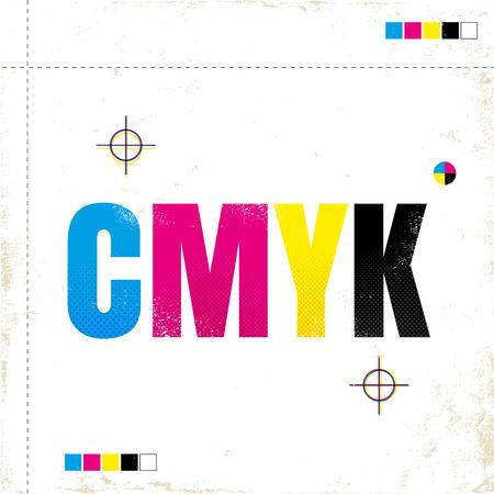 Poster vettoriale vintage con CMYK. CMYK su carta grunge.