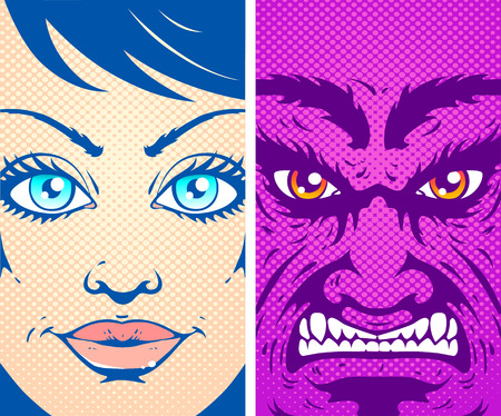 good and evil: Vector vintage poster good and evil. Angel and devil in comics style.