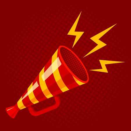 Vector vintage poster with red retro megaphone. Striped megaphone on red background.