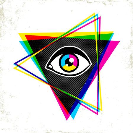 Vintage pyramid with eye in 90s style. Vintage poster with pyramid and eye.