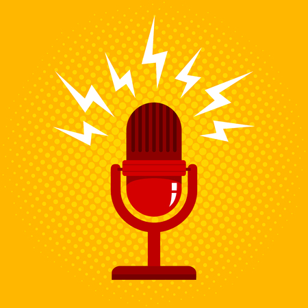 Vintage vector illustration of retro microphone and loud sound. Microphone on halftone background Illustration