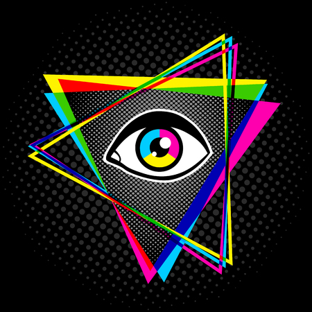 providence: Vintage pyramid with eye in 90s style. Vintage poster with pyramid and eye