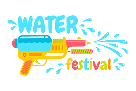 Songkran festival in Thailand. Logo for water festival with gun.