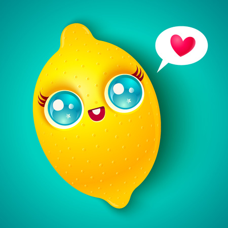 Illustration of a cute lemon with heart. Kawaii lemon on bright background.