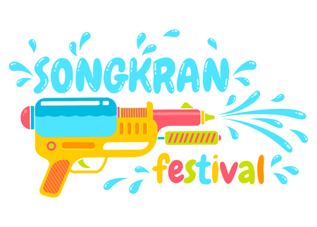 Thailand Vector logo gun for Songkran festival. Logo for water festival with gun.