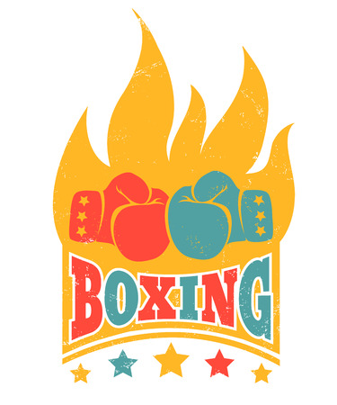 Colored poster for boxing with gloves and fire. Vintage logo for boxing.
