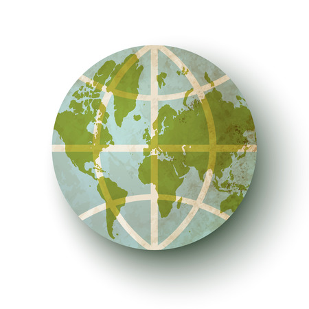 flat earth: Vintage icon Earth planet. Vintage globe with world map.