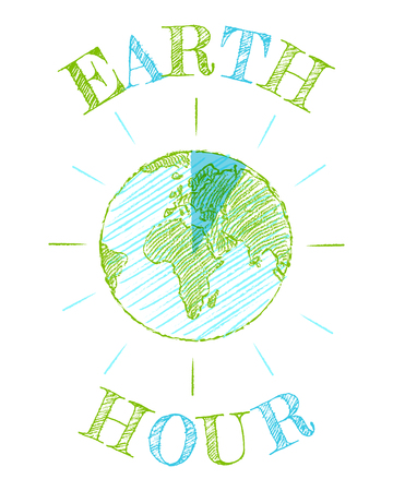 Vintage poster for a Earth hour. 25 March Earth hour day.