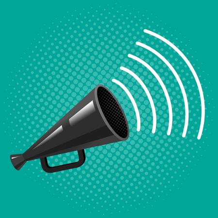 volume control: Black megaphone on blue background Vector vintage poster with megaphone on halftone background. Illustration
