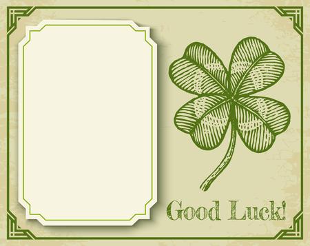 Green clover on old paper and vintage frame. Vector vintage poster with clover for Patricks day. Illustration