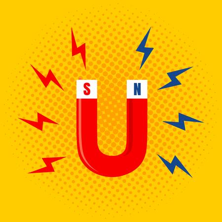 magnetismo: Illustrazione vettoriale del magnete con la magnetizzazione. Magnet sul backgroung giallo.