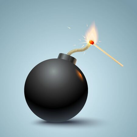 Vector illustration of a bomb and match in fire and sparks. Bomb and match
