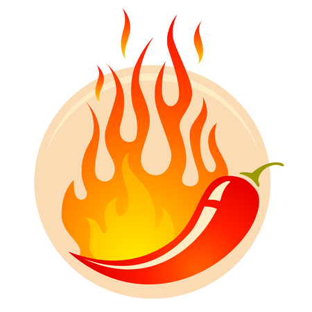 Vector illustratie van een hete jalapeno of chili pepers in vuur. Stock Illustratie