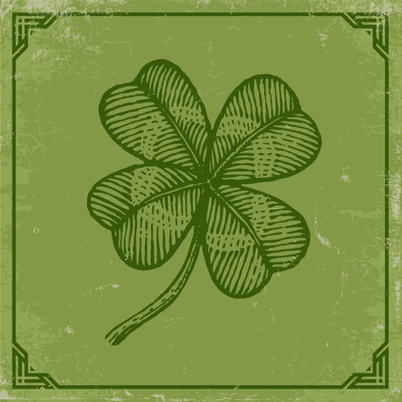 Vector vintage poster with clover for Patricks day. Green clover on old paper and vintage frame.