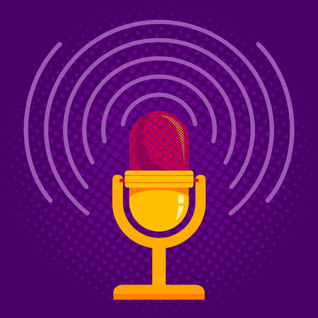voices: Vintage vector illustration of retro microphone and loud sound. Microphone on halftone background Illustration