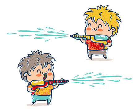 Vector illustration of kids with water guns for Songkran festival in Thailand. Songkran water festival in Thailand.