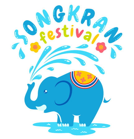 amazing: Vector logo for Songkran festival in Thailand with elephant and water. Songkran water festival in Thailand.