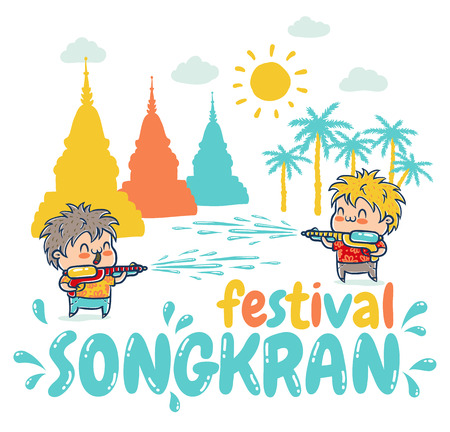 songkran: Vector illustration of kids with water guns for Songkran festival in Thailand. Songkran water festival in Thailand.