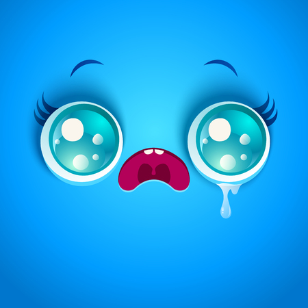 shedding: Vector illustration of sad blue face. Kawaii face in stress with eyes and tear. Illustration