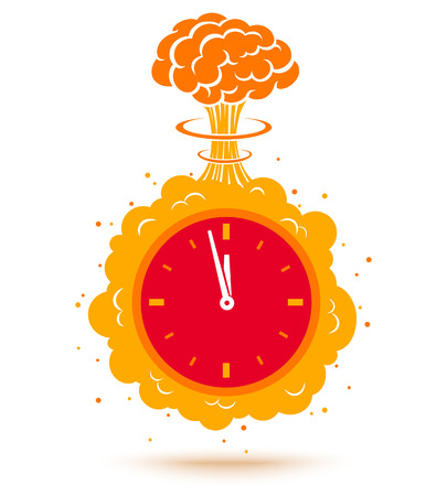 Vector illustration of a bomb and with a timer. Clock with bomb.