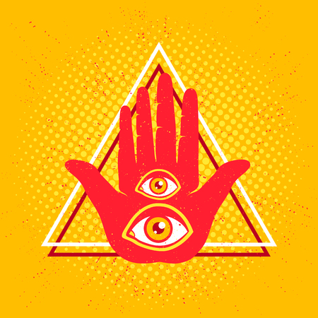Vintage vector illustration of hand and eyes. Hand and two eyes.